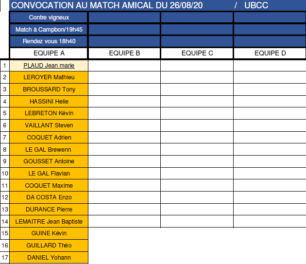Convocations match amical du Mercredi 26/08/2020